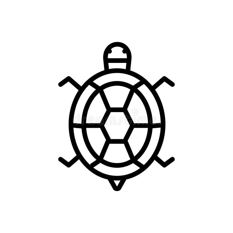Zwart lijnpictogram voor Schildpad, dier en reptiel stock illustratie