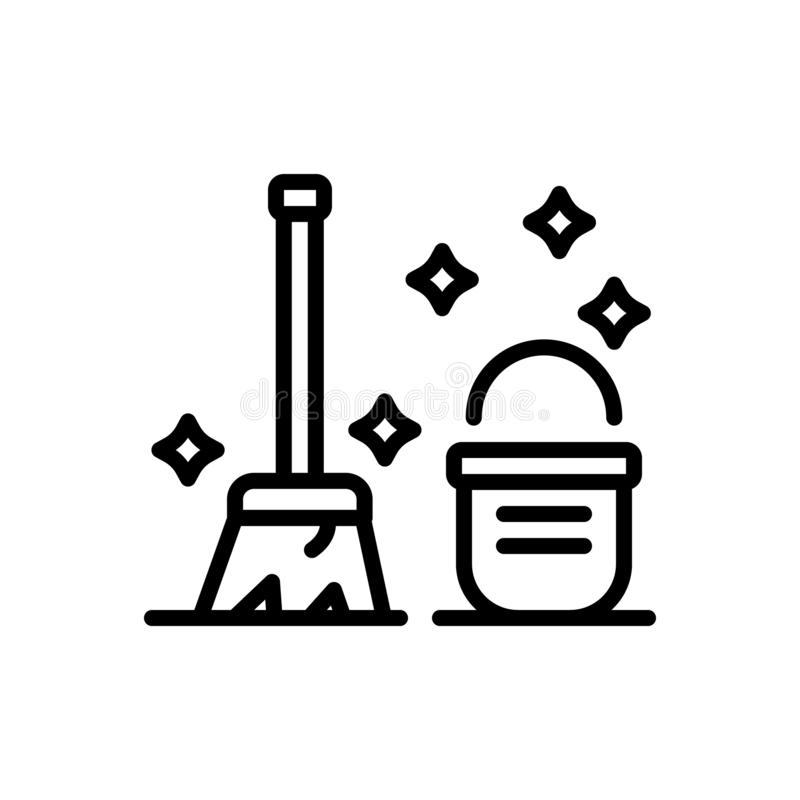 Zwart lijnpictogram voor Schoon, keurig en emmer stock illustratie