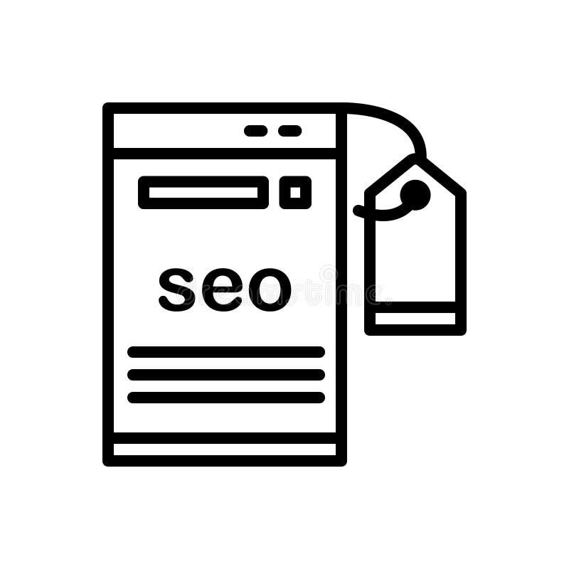 Zwart lijnpictogram voor Seo, het Etiketteren en optimalisering stock illustratie