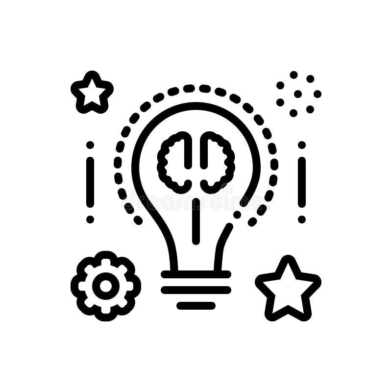 Zwart lijnpictogram voor Slimme ideeën, uitvinding en zaken stock illustratie