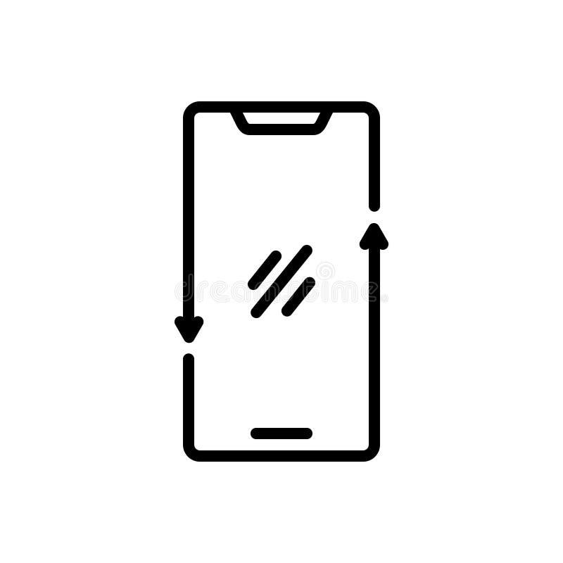 Zwart lijnpictogram voor Smartphone, telefoon en mededeling vector illustratie