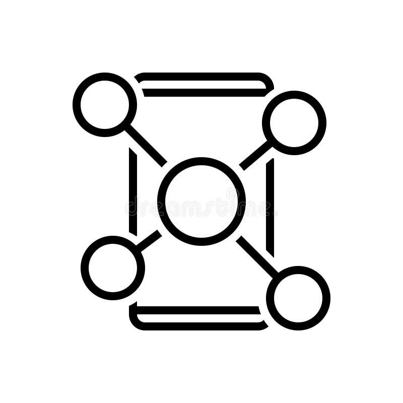 Zwart lijnpictogram voor Sociaal Netwerk, netwerk en mededeling stock illustratie