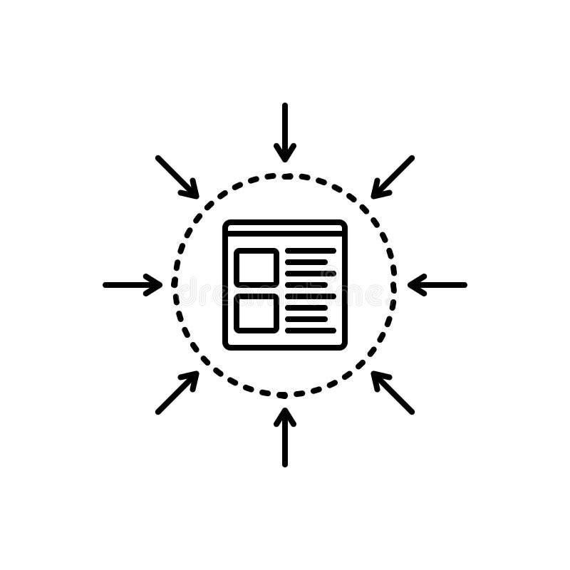 Zwart lijnpictogram voor Specificatie, beheer en specifiek royalty-vrije illustratie