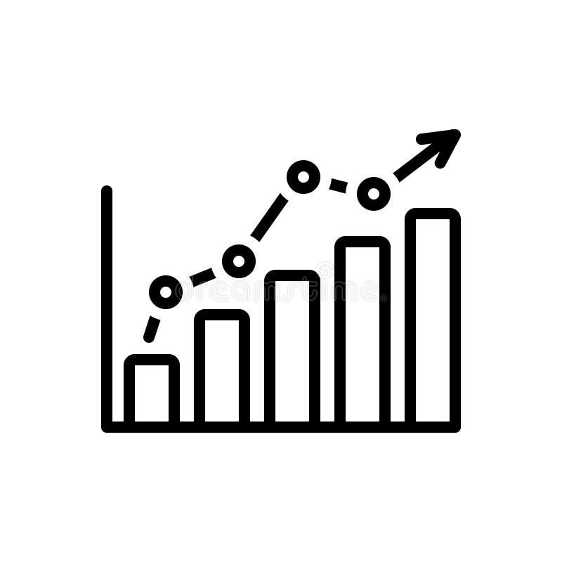 Zwart lijnpictogram voor Statistieken, gegevens en grafiek vector illustratie