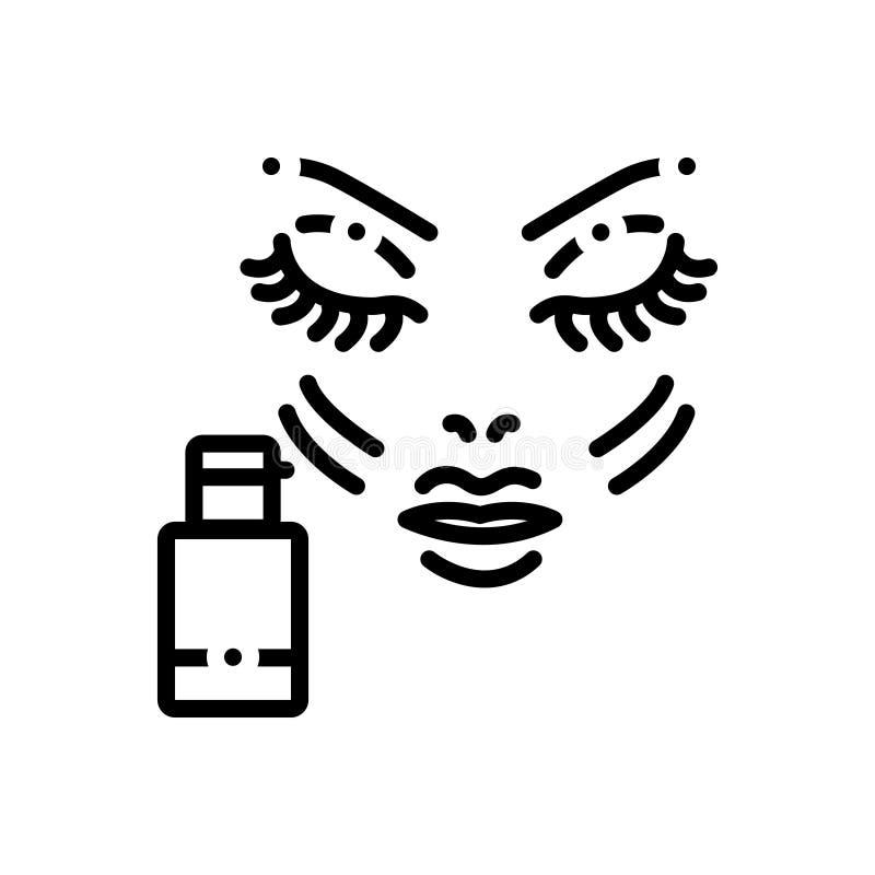 Zwart lijnpictogram voor Stichting, make-up en vloeistof vector illustratie