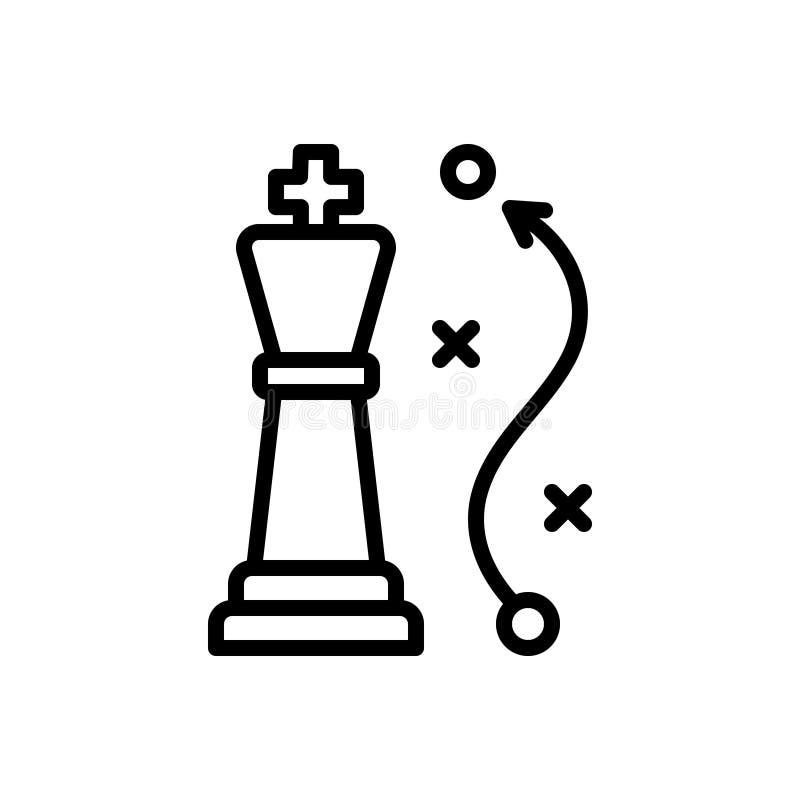 Zwart lijnpictogram voor Strategie, benadering en blauwdruk stock illustratie