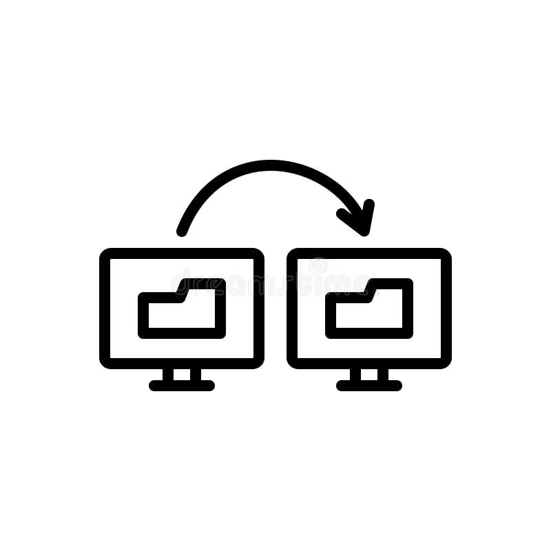 Zwart lijnpictogram voor Synchronisatie van Gegevensinformatie, overdracht en informatie vector illustratie