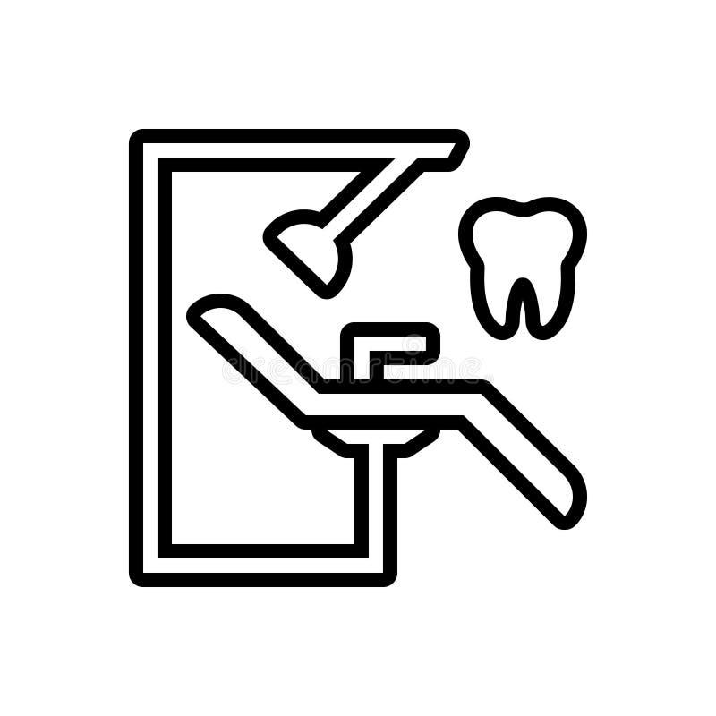 Zwart lijnpictogram voor Tandarts Chair, orthodontie en chirurgie vector illustratie