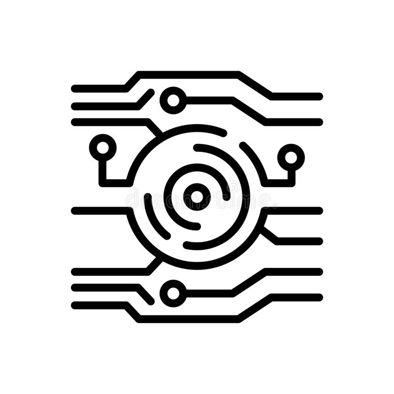 Zwart lijnpictogram voor Technologie, digitalisering en technologie vector illustratie