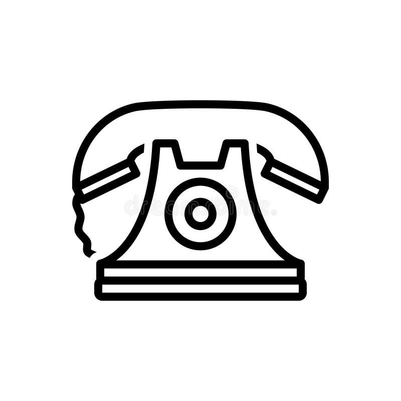 Zwart lijnpictogram voor Telefoon, mededeling en telefoon stock illustratie
