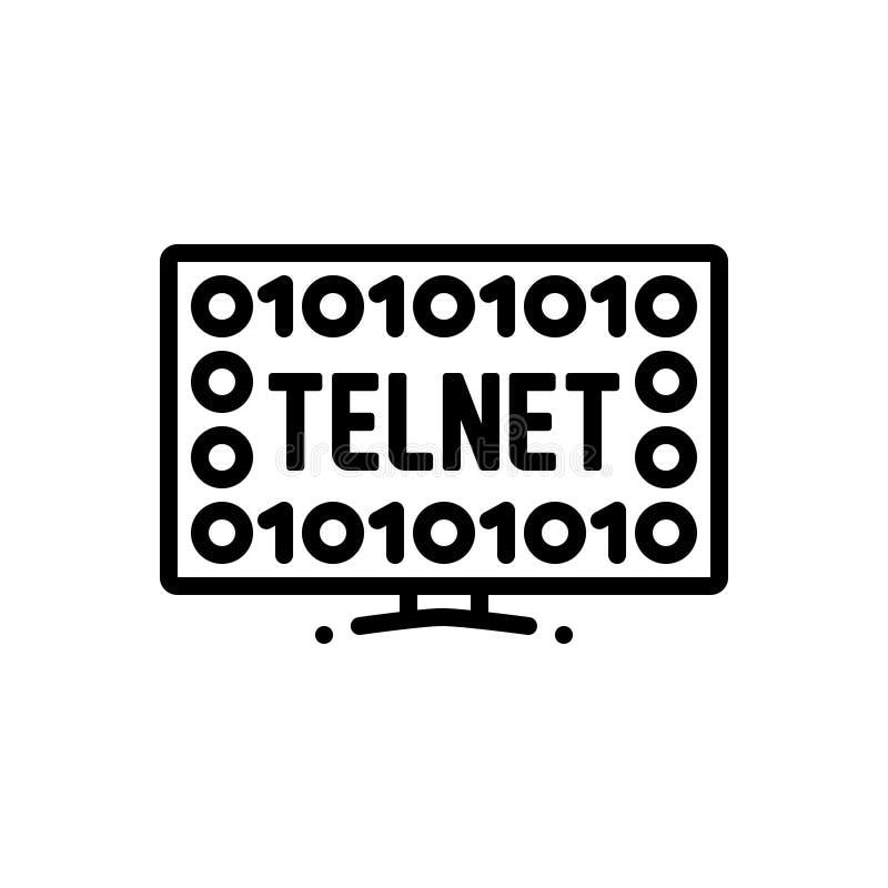Zwart lijnpictogram voor Telnet, netwerk en technologie royalty-vrije illustratie