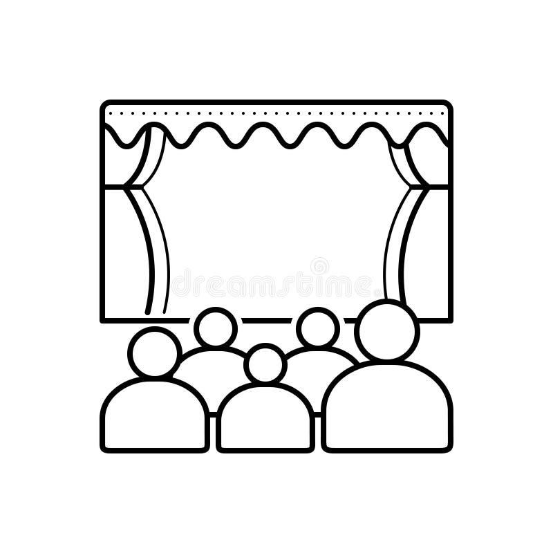 Zwart lijnpictogram voor Theater, publiek en bioskoop royalty-vrije illustratie