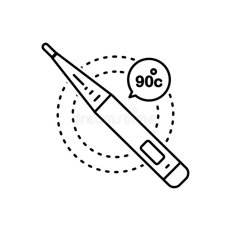 Zwart lijnpictogram voor Thermometer, zieken en temperatuur royalty-vrije illustratie