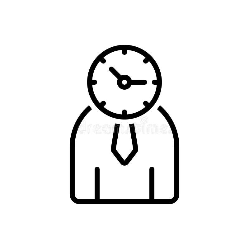 Zwart lijnpictogram voor Tijdbeheer, beheer en monografie vector illustratie