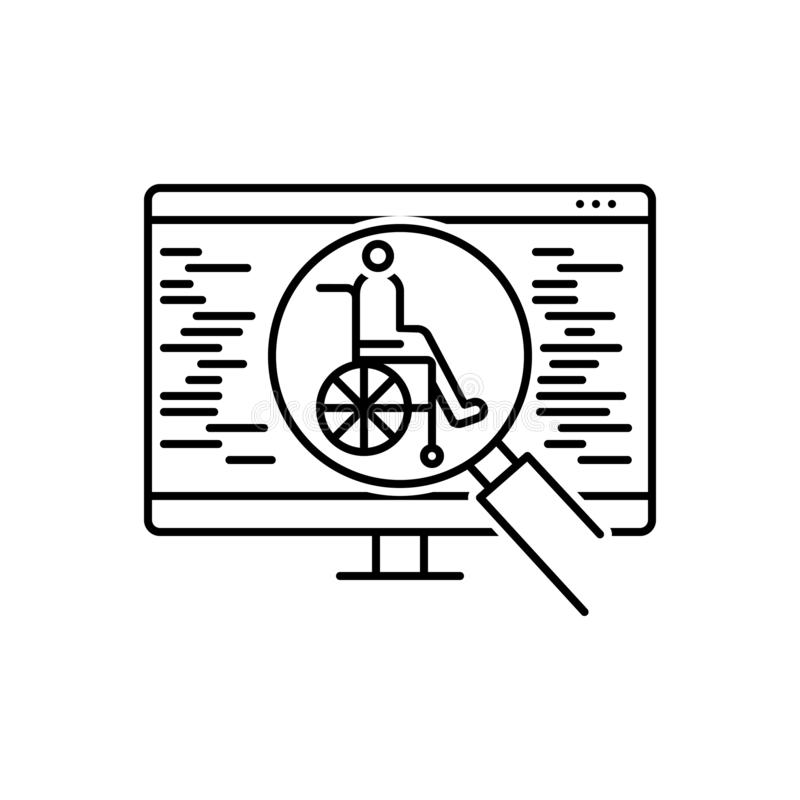 Zwart lijnpictogram voor Toegankelijkheid, optimalisering en glas vector illustratie