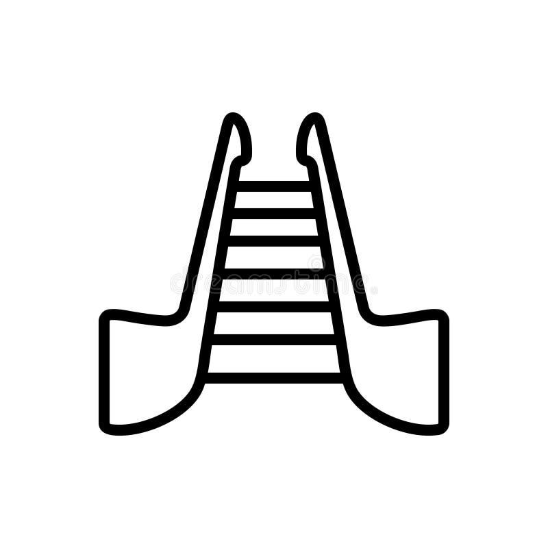 Zwart lijnpictogram voor Treden, trapladder en roltrap stock illustratie