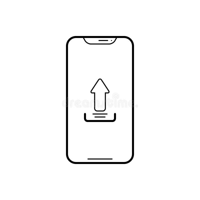 Zwart lijnpictogram voor Upload app, telefoon en smartphone royalty-vrije illustratie