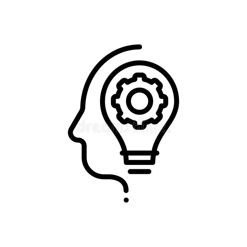 Zwart lijnpictogram voor Vaardigheden, ontwikkeling en motivatie vector illustratie