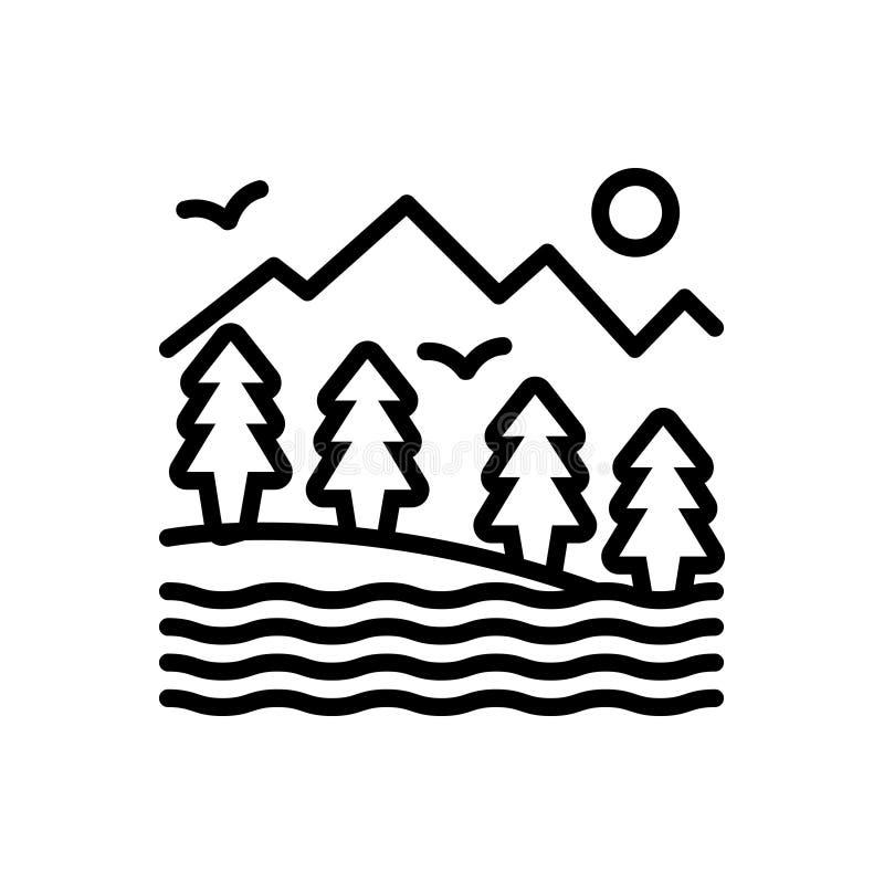 Zwart lijnpictogram voor Vallei, canion en bassin vector illustratie
