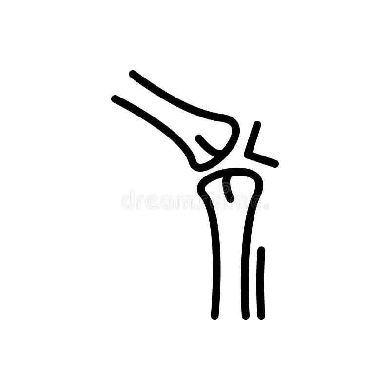 Zwart lijnpictogram voor Verbinding, artritis en reumatiek stock illustratie