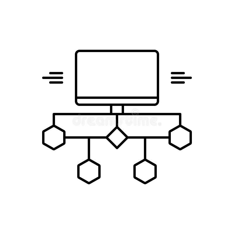 Zwart lijnpictogram voor verbonden Stroomdiagram, en stroom vector illustratie