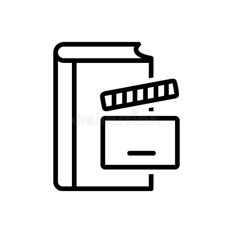 Zwart lijnpictogram voor Verhaal, verhaal en video vector illustratie