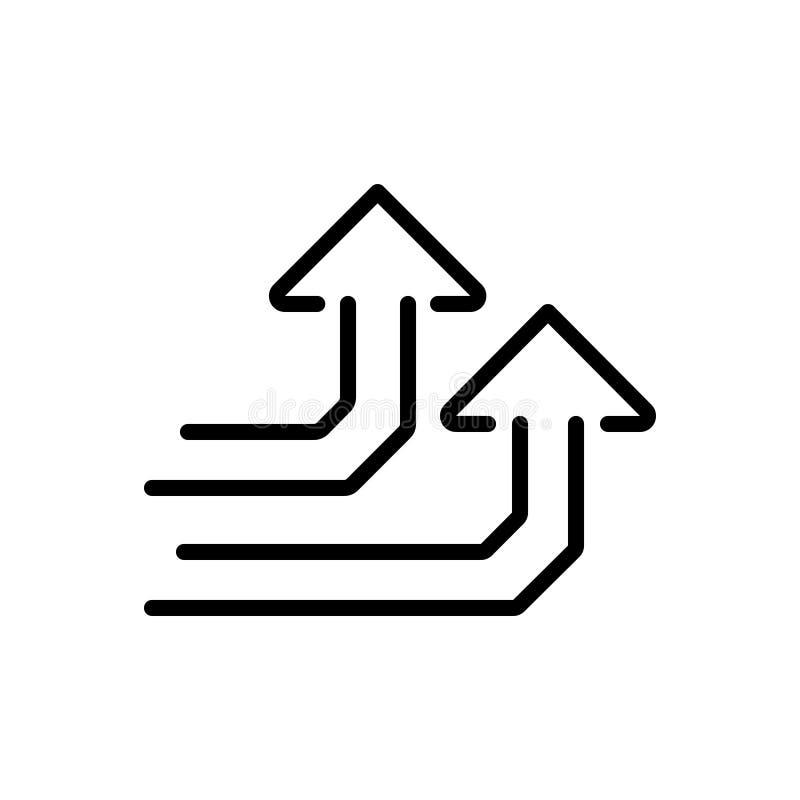 Zwart lijnpictogram voor Verhoging, stijging en de groei royalty-vrije illustratie