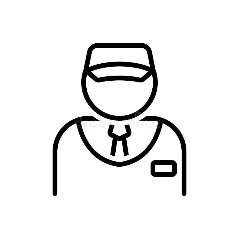 Zwart lijnpictogram voor Verkoper, verkoper en handelaar stock illustratie