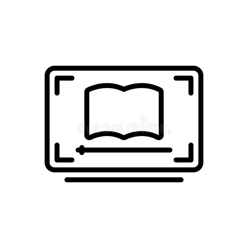 Zwart lijnpictogram voor Videoles, ebook en onderwijs stock illustratie
