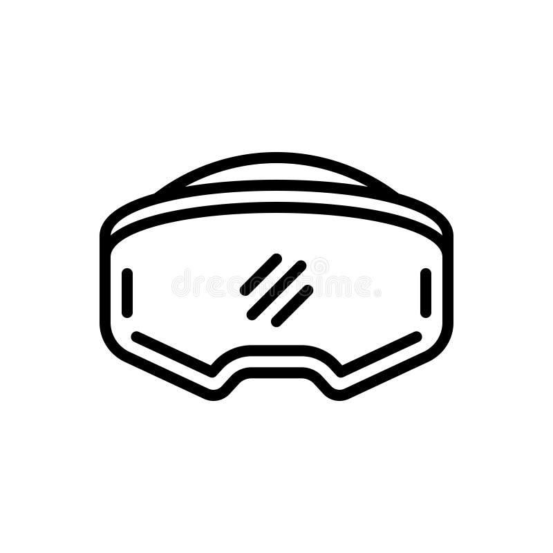 Zwart lijnpictogram voor Virtuele Werkelijkheidshoofdtelefoon, digitaal en elektronisch royalty-vrije illustratie