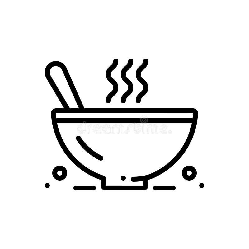 Zwart lijnpictogram voor Vissoep kom en voedsel royalty-vrije illustratie