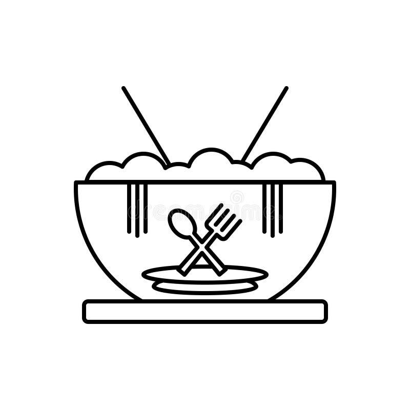 Zwart lijnpictogram voor Voedsel, maaltijd, eetbaar en eetbaar royalty-vrije illustratie