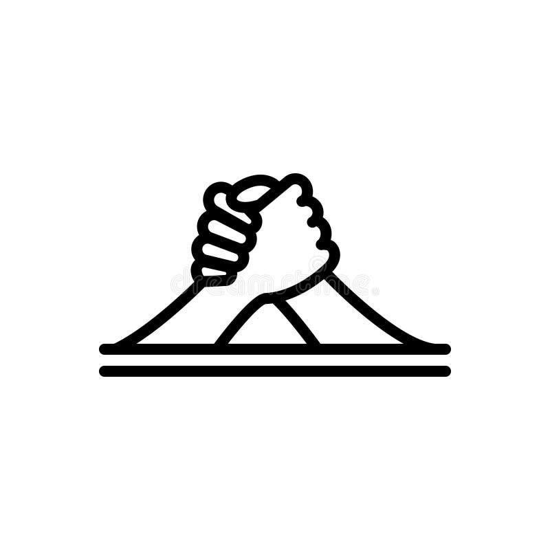 Zwart lijnpictogram voor Wapen, het Worstelen en uitdaging royalty-vrije illustratie