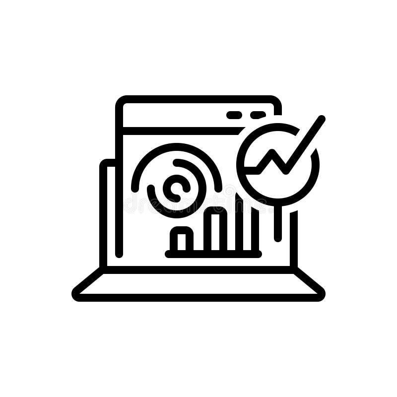 Zwart lijnpictogram voor Web Analytics, optimalisering en statistieken vector illustratie