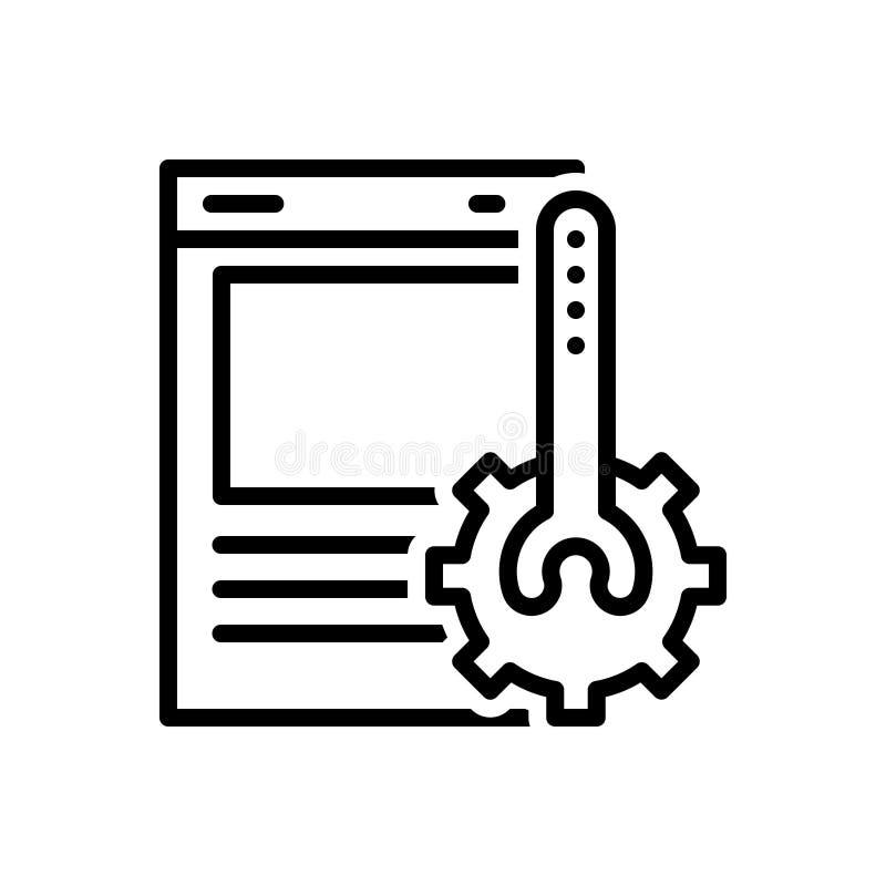 Zwart lijnpictogram voor Website, Optimalisering en ontwikkeling royalty-vrije illustratie
