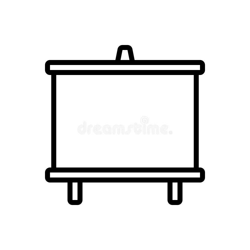 Zwart lijnpictogram voor Whiteboard, aanplakbord en raad vector illustratie