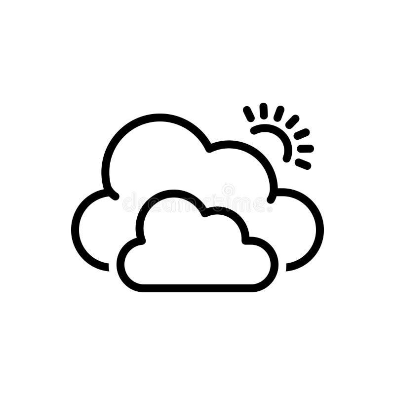 Zwart lijnpictogram voor Wolk, mist en smog royalty-vrije illustratie