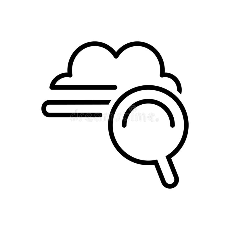Zwart lijnpictogram voor Wolkenzoeken, raming en optimalisering stock illustratie
