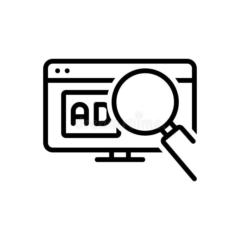Zwart lijnpictogram voor Zoekenadvertentie, digitaal en meer magnifier vector illustratie