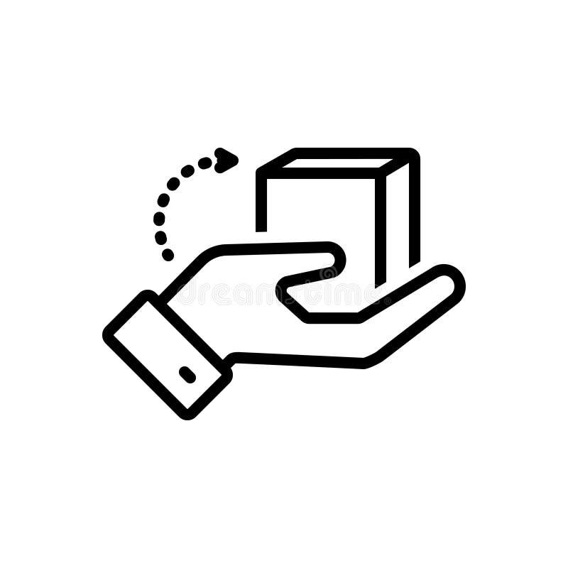 Zwart lijnpictogram voor Zorg, verzekerde bewaring en zorgvuldig stock illustratie