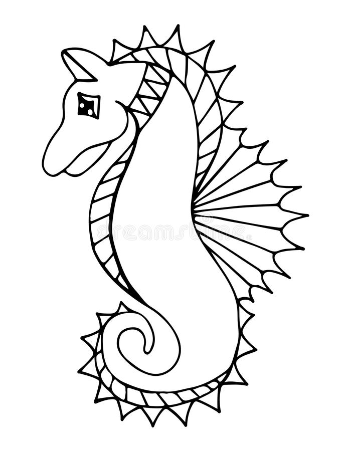 Zwart lijnzeepaardje op de witte achtergrond stock illustratie
