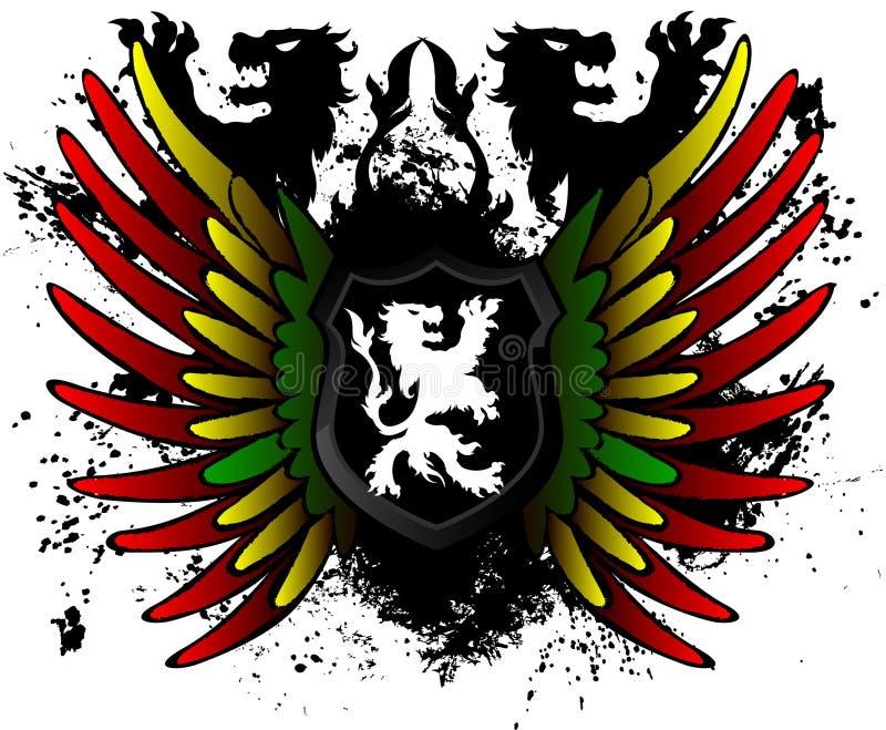 Zwart Lion Rasta Shield royalty-vrije illustratie