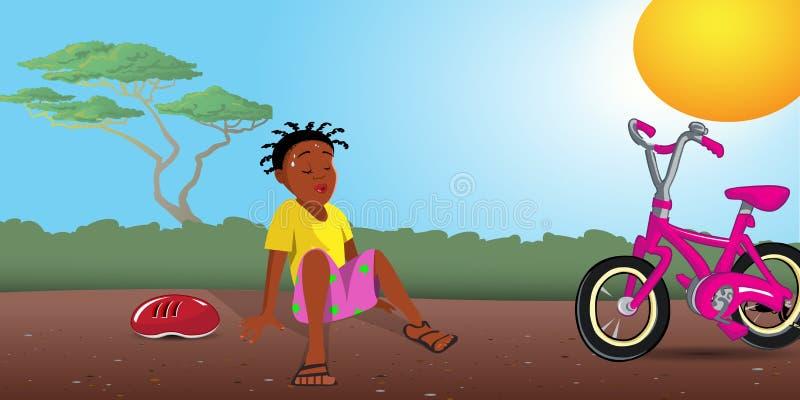 Zwart meisje uitgeput met fiets stock illustratie