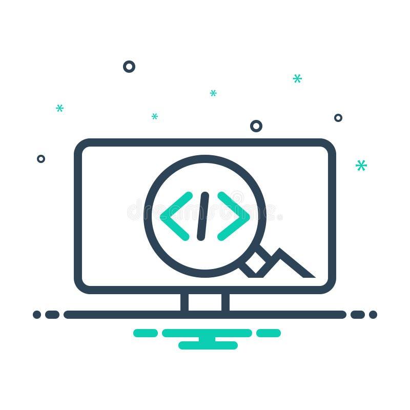 Zwart mengelingspictogram voor Code, optimalisering en ontwikkeling royalty-vrije illustratie