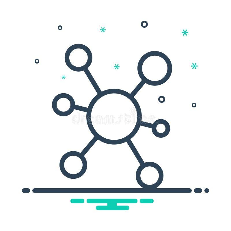 Zwart mengelingspictogram voor Connectiviteit, aandeel en mededeling stock illustratie