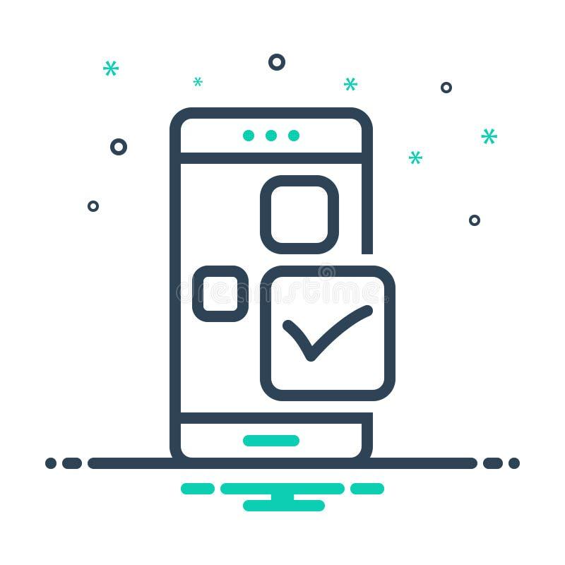Zwart mengelingspictogram voor Controle app, toepassing en aprove stock illustratie