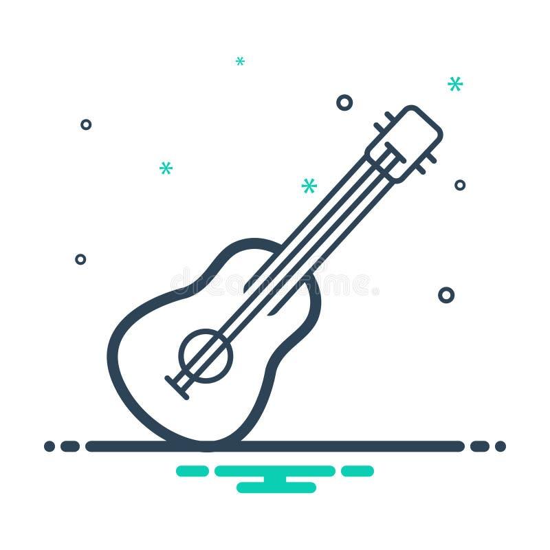 Zwart mengelingspictogram voor Gitaar, akoestisch en muziek stock illustratie