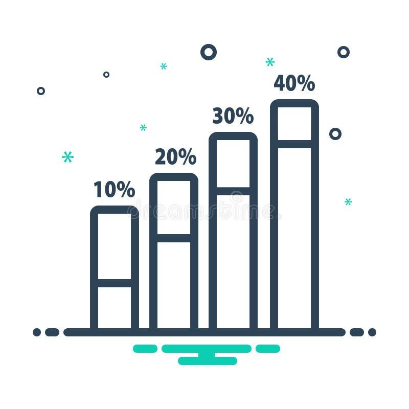 Zwart mengelingspictogram voor Productiviteit, verhoging en prestaties vector illustratie