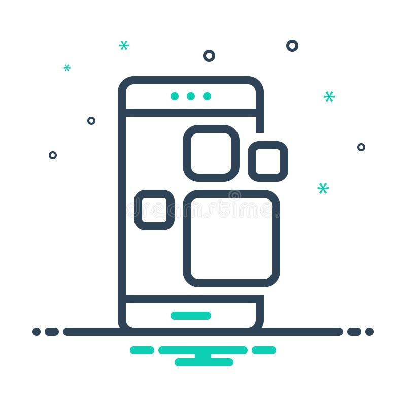 Zwart mengelingspictogram voor Toepassing app, smartphone en app royalty-vrije illustratie