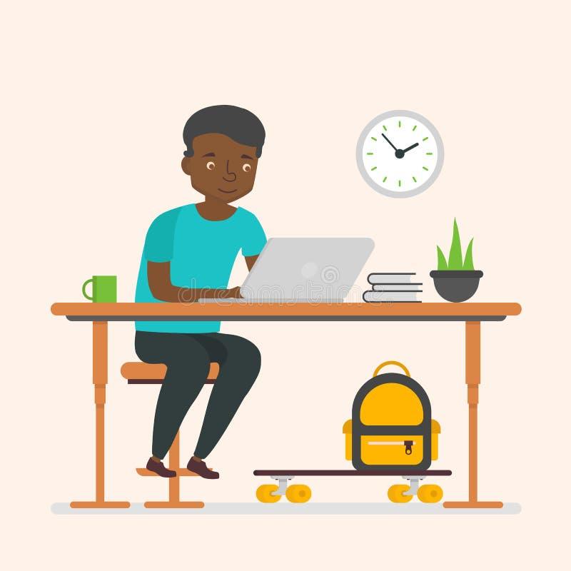 Zwart mensen bedrijfskarakter die voor computer werken vector illustratie